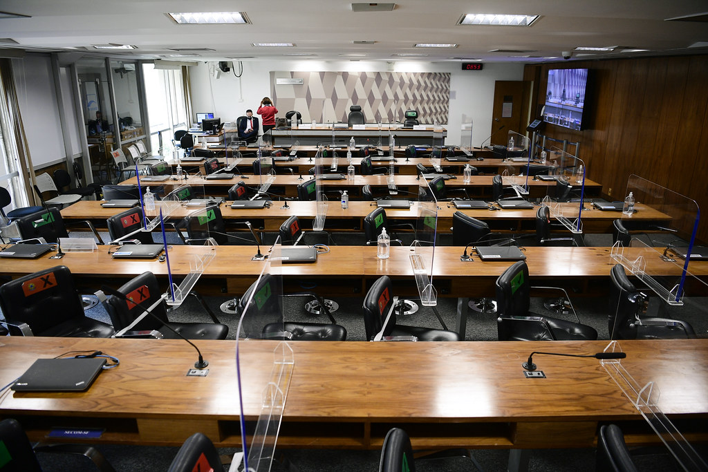Sala da CPI da Pandemia estava pronta para receber o depoiemento