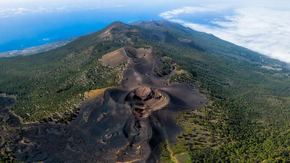Vista aérea do Parque Nacional Cumbre Vieja, nas Ilhas Canárias