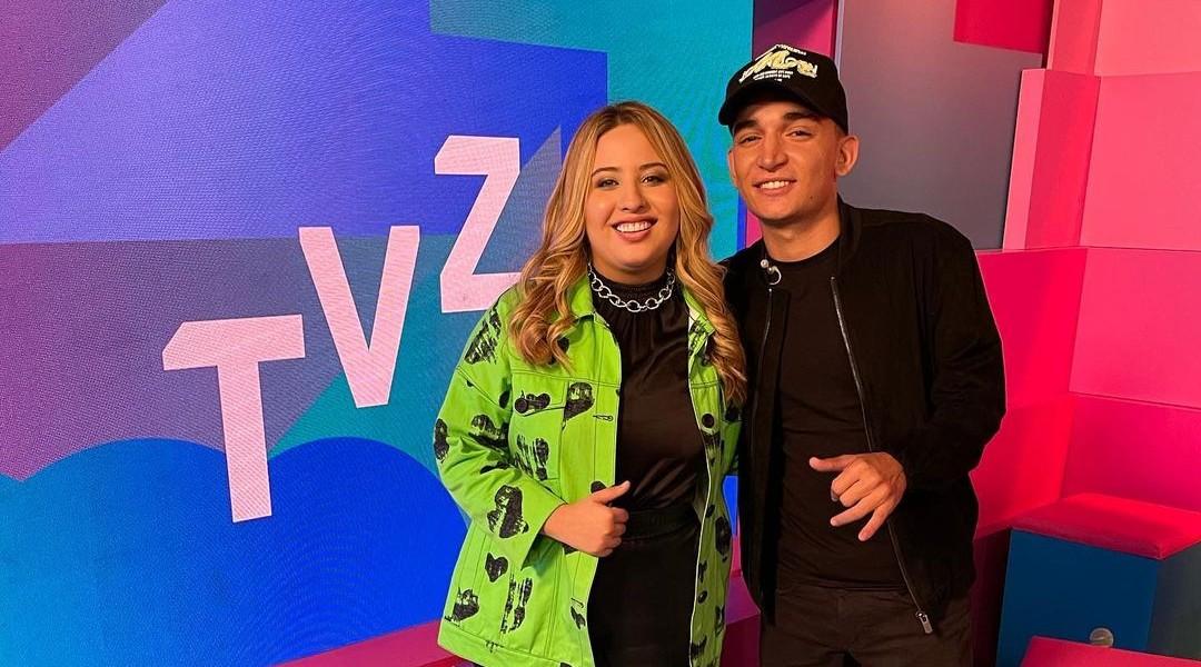 Mari Fernandez e João Gomes no programa TVZ, do Multishow
