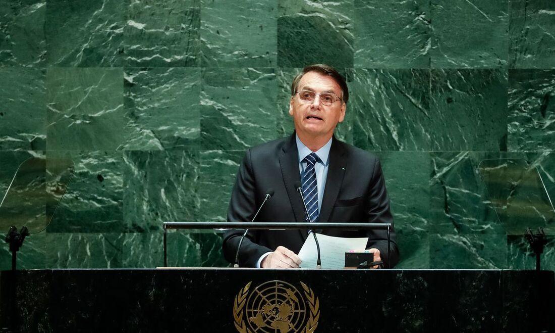 Presidente Bolsonaro durante discurso na Assembleia Geral da ONU, em 2019