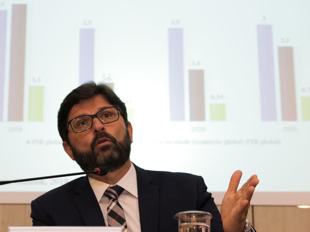 O secretário de Comércio Exterior da Secint, Lucas Ferraz, na divulgação dos dados da balança comercial do ano de 2019