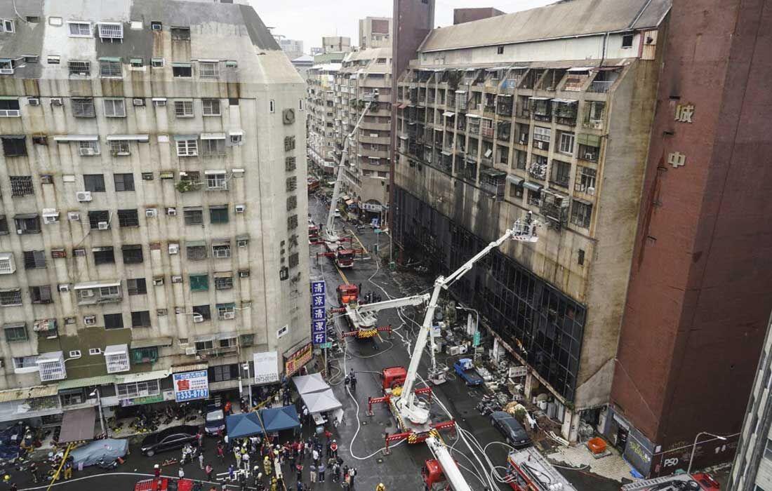 Prédio onde houve incêndio em Taiwan