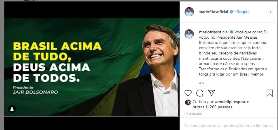 Mario Frias, novo secretário da Cultura, publicou uma mensagem de apoio ao presidente no dia de sua nomeação