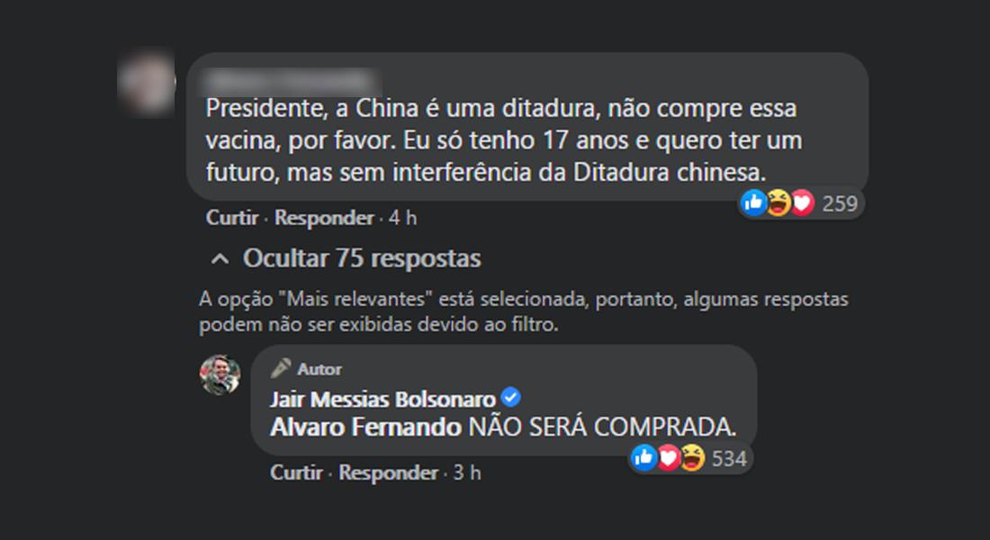 Resposta de Bolsonaro