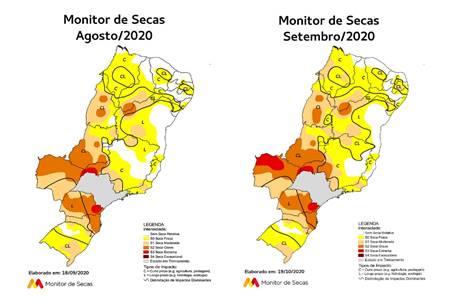 Dados do Monitor de Secas mostram o avanço da estiagem no País