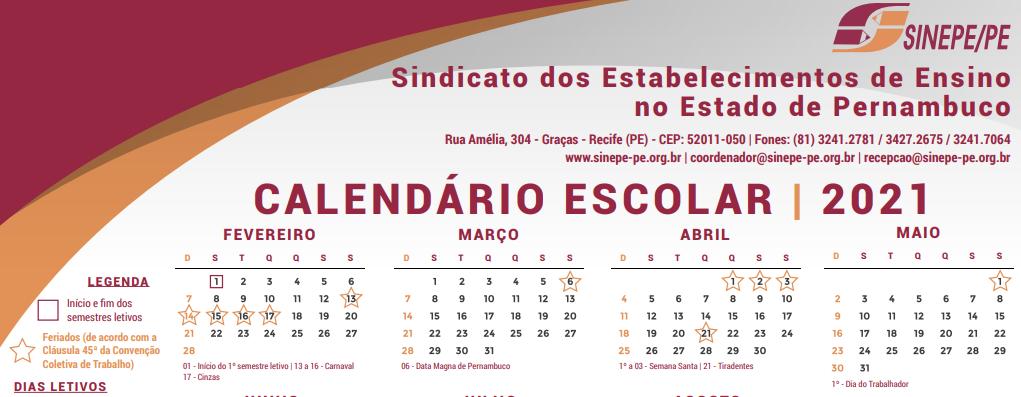Calendário escolar, definido em convenção, com o Carnaval como feriado
