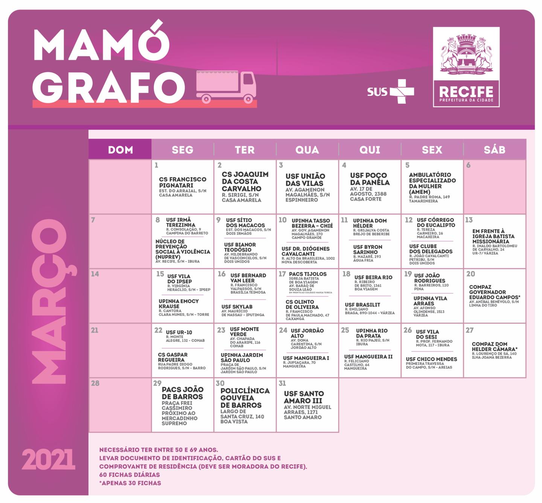 Calendário de março de 2021 para marcação de exames de mama