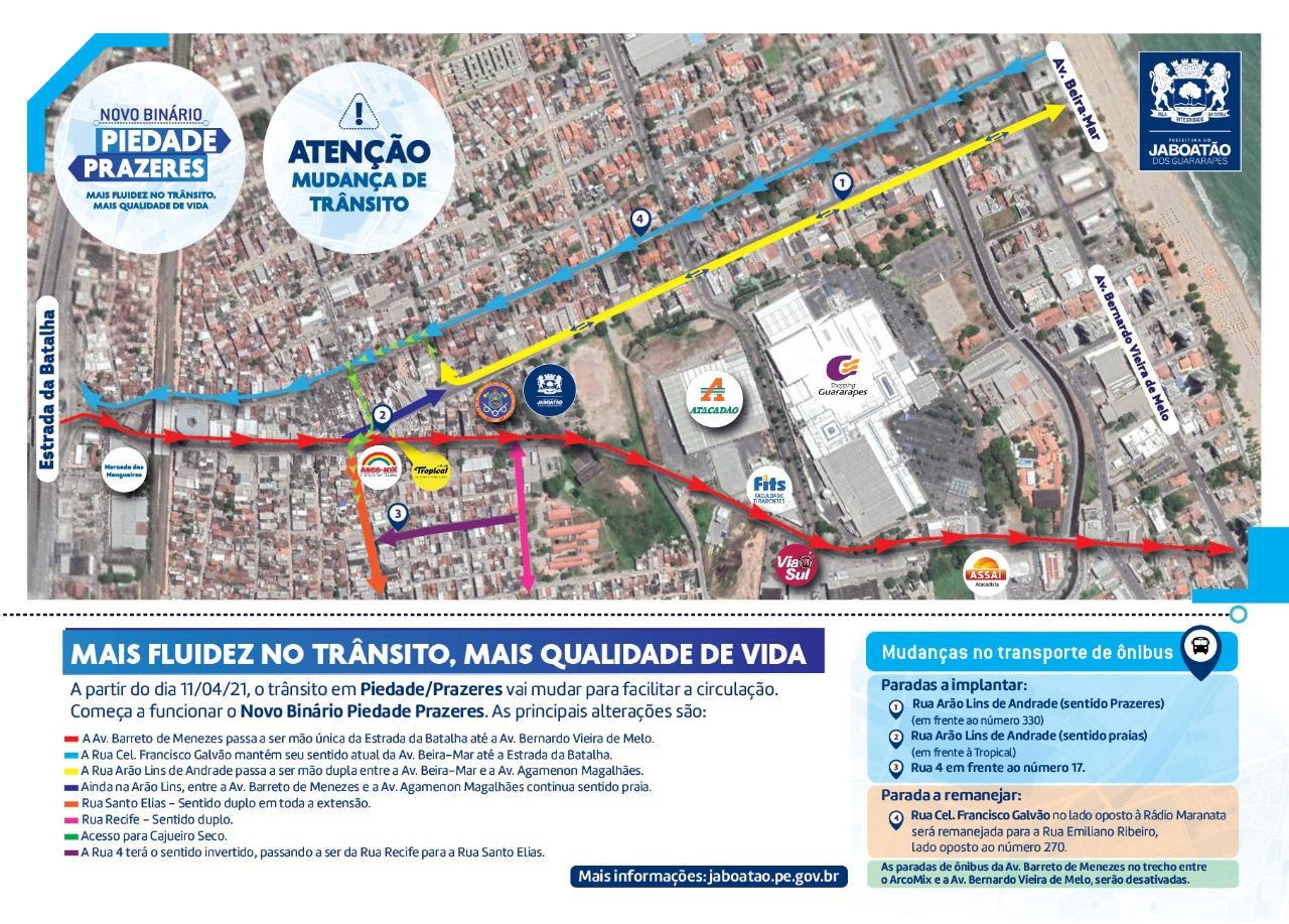 Mapa com as alterações no trânsito de Jaboatão