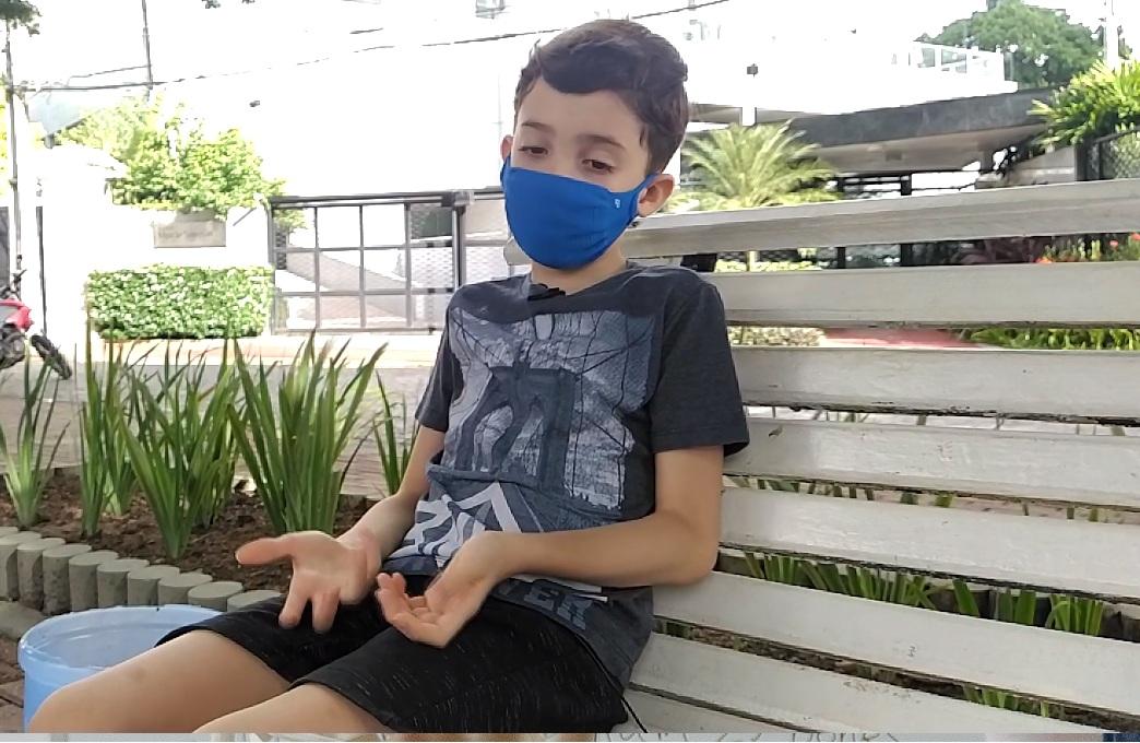 Miguel Pedrosa, 8 anos sabe a importância da educação ambiental